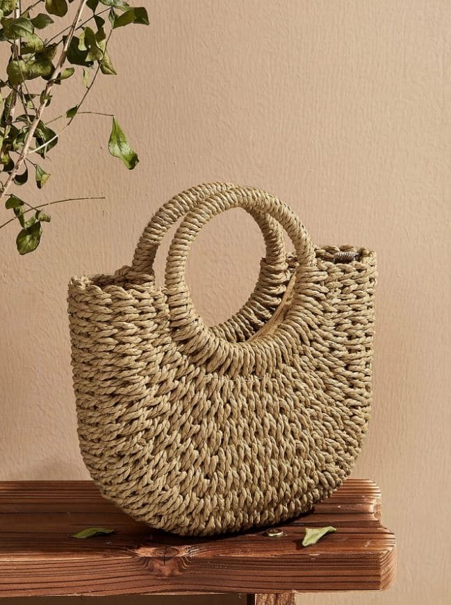 Woven Satchel Bag With Ring Handle