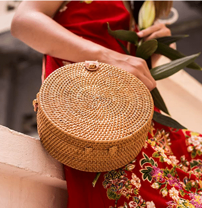 Natural Neo Round Rattan Bag
