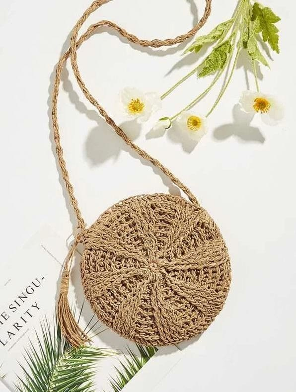 Tassel Detail Round Straw Cross body Bag