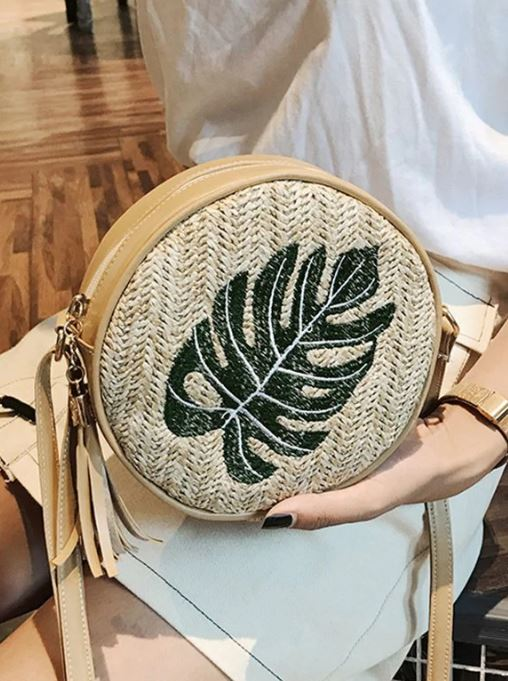 Pineapple Leaf Straw Round Cross body Bag