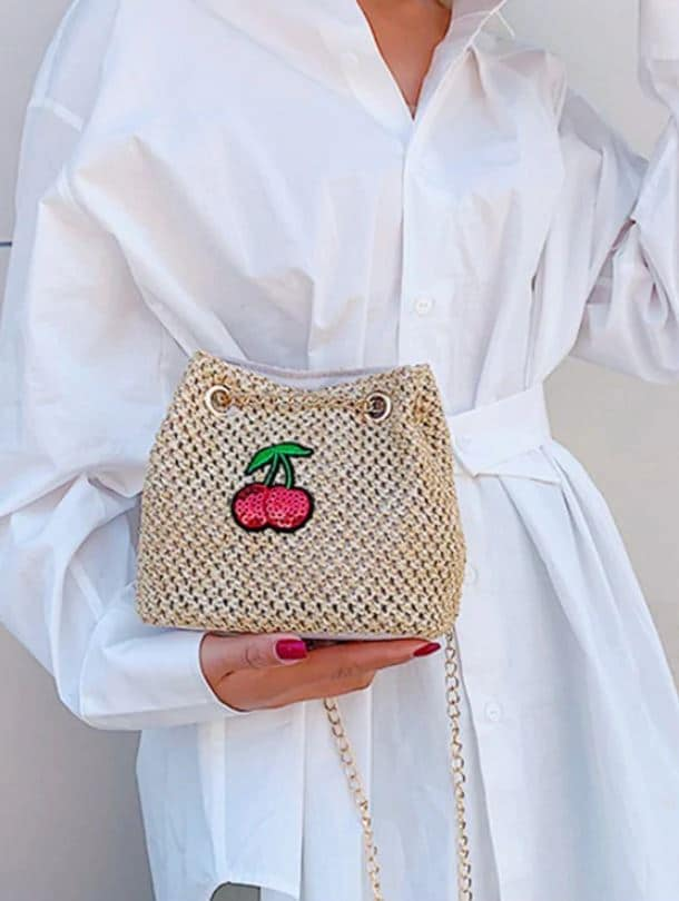 Cherry Pattern Chain Straw Braid Bag